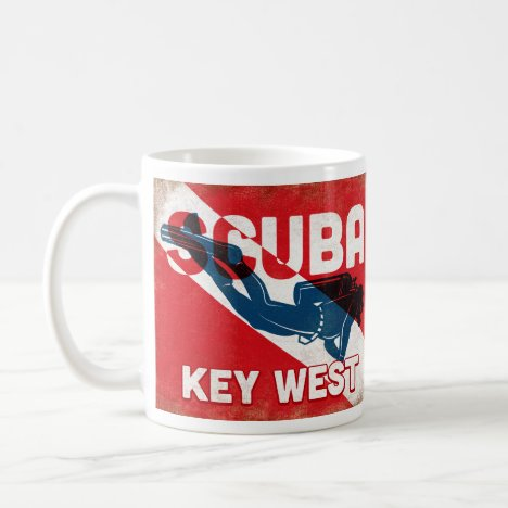 Key West Scuba Diver - Blue Retro Coffee Mug