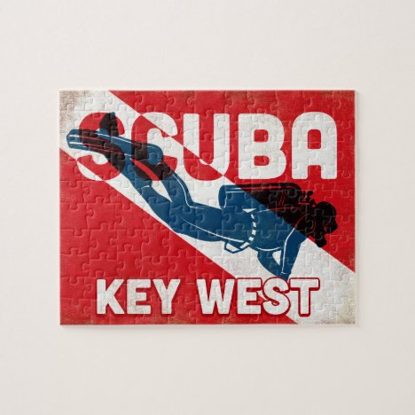 Key West Scuba Diver - Blue Retro Jigsaw Puzzle