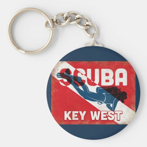 Key West Scuba Diver - Blue Retro Keychain