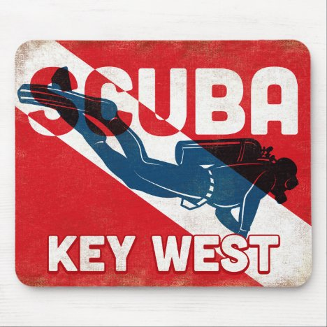 Key West Scuba Diver - Blue Retro Mouse Pad