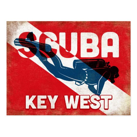 Key West Scuba Diver - Blue Retro Postcard