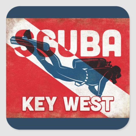 Key West Scuba Diver - Blue Retro Square Sticker