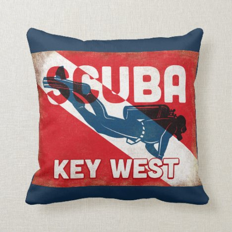 Key West Scuba Diver - Blue Retro Throw Pillow