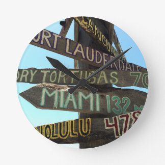 Key West Signs Round Clock