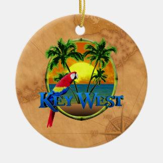Key West Sunset Double-Sided Ceramic Round Christmas Ornament