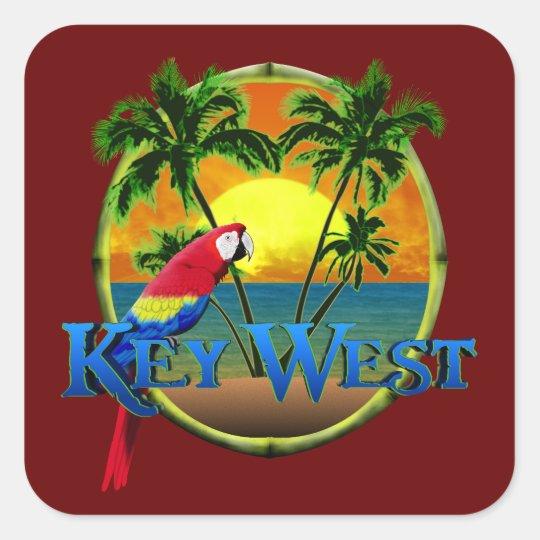 Key West Sunset Square Sticker