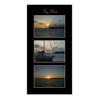 Key West sunset triptych Poster