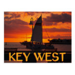 Key West Sunset with Boats Postcard