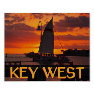 Key West Sunset with Boats Print
