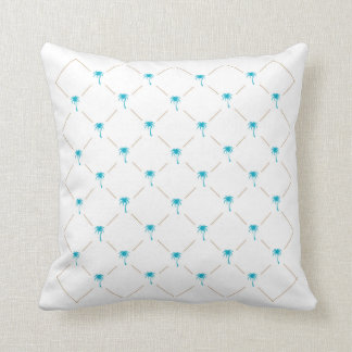 Key West Teal Palm Trees Throw Pillow