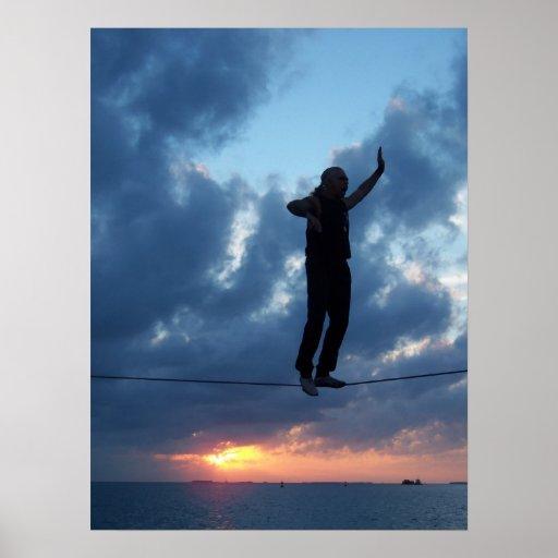 Key West Tightrope Walker at Sunset Poster