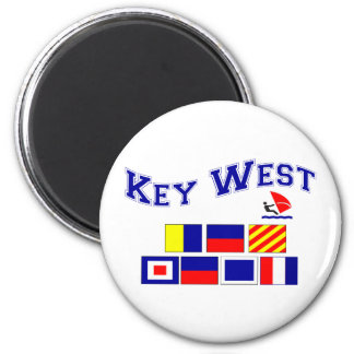 Key West  w/ Maritime Flags 2 Inch Round Magnet