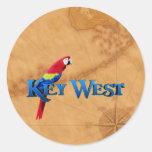 Key West y mapa Etiqueta Redonda