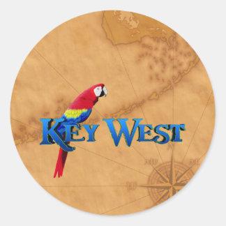 Key West y mapa Pegatina Redonda