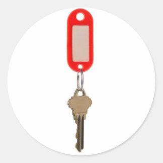 Key with key tag classic round sticker