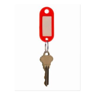 Key with key tag postcard