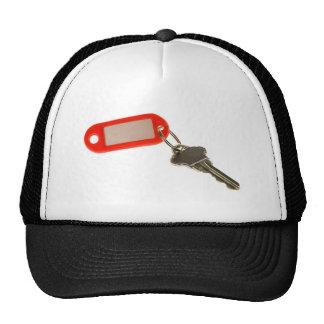 Key with key tag trucker hat