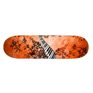 Keyboard and clef with roses skateboard