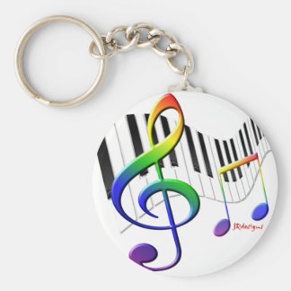 Keyboard and Treble Clef Basic Round Button Keychain