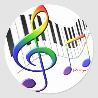 Keyboard and Treble Clef Classic Round Sticker