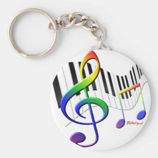 Keyboard and Treble Clef Keychain