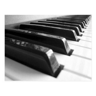 Keyboard - Black And White Postcard