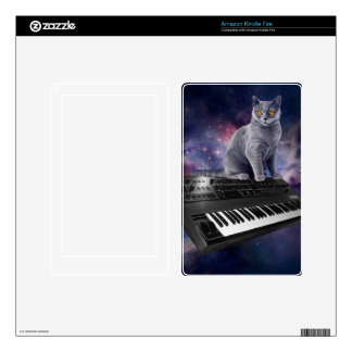 keyboard cat - cat music - space cat decal for kindle fire