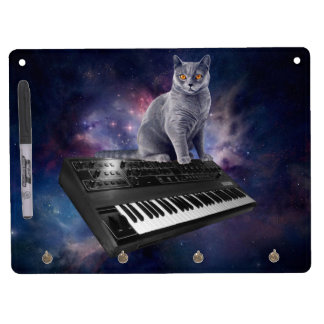 keyboard cat - cat music - space cat dry erase board with keychain holder