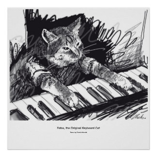 keyboard Cat Drawing Poster