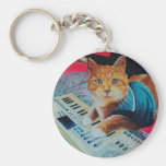Keyboard Cat Painting Gear Basic Round Button Keychain
