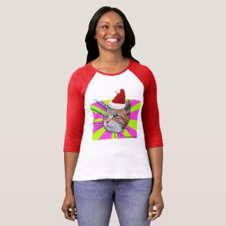 Keyboard Cat Santa Hat ladies shirt