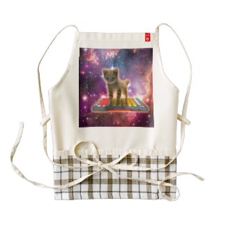 keyboard cat - tabby cat - kitty zazzle HEART apron