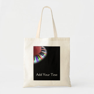 Keyboard Chaos Bright on Black Tote Bags