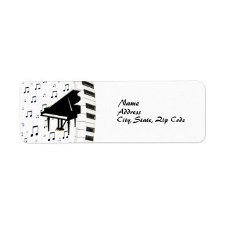 Keyboard Grand Piano and Music Notes Label
