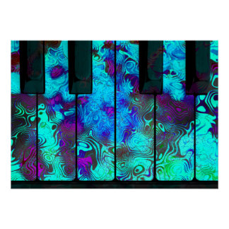 Keyboard Keys Poster (Aqua Purple Blue)