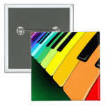 Keyboard Music Party Colors 2 Inch Square Button