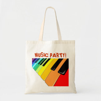 Keyboard Music Party Colors Budget Tote Bag
