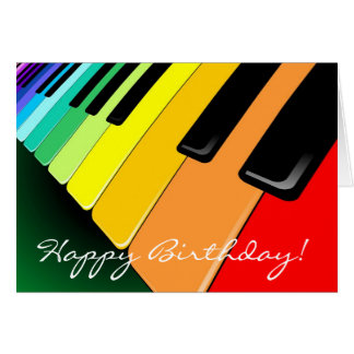 Keyboard Music Party Colors Greeting Cards
