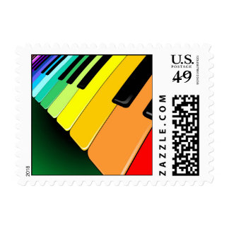 Keyboard Music Party Colors Stamp