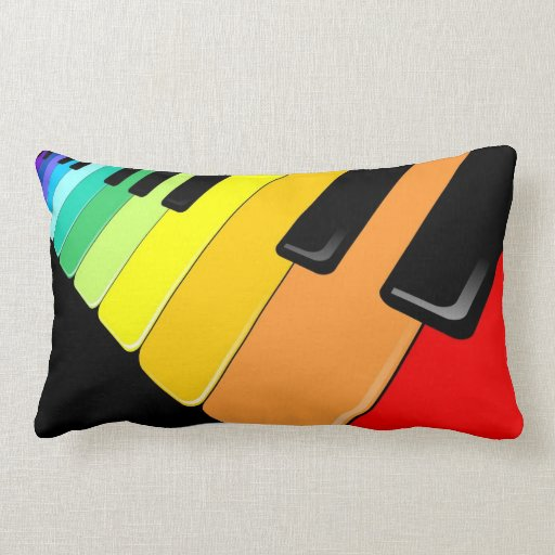 Keyboard Music Party Colors Throw Pillow