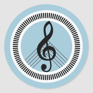 Keyboard piano and violin clef creative peace sign classic round sticker