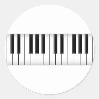 Keyboard Piano Keys Round Stickers