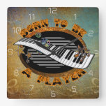 Keyboard Player Square Wall Clock