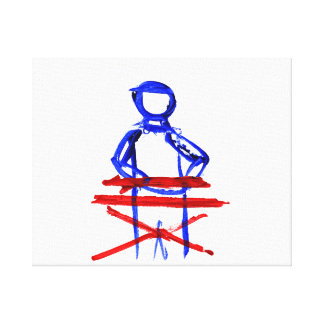 Keyboard player stick outline red blue cutout canvas print