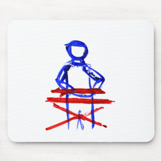 Keyboard player stick outline red blue cutout mousepad