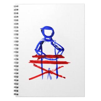 Keyboard player stick outline red blue cutout notebook