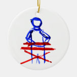 Keyboard player stick outline red blue cutout ornament