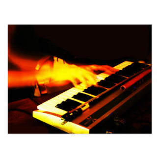 Keyboard playing postcard