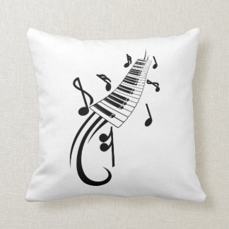 keyboard scroll and notes black.png throw pillow