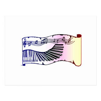 Keyboard Scroll Graphic Image Design Music Postcard